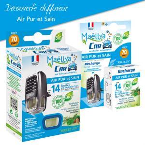 Découverte Diffuseur + recharge voiture Air Pur et Sain aux huiles essentielles BIO Contrôlé Parfum d'ambiance par Ecocert