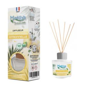 """Diffuseur bâtons """"Citronnelle"""" 40 ml, Parfum d'ambiance contrôlé par Ecocert"""