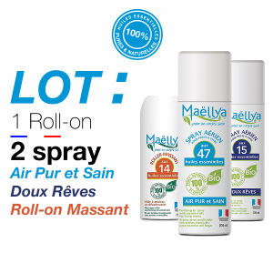 LOT : 2 Spray Air Pur et Sain 200ml & Doux Rêves 100ml + Roll-on de Massage 75ml