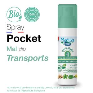 Spray POCKET Mal des transports - 50 ml aux huiles essentielles BIO Contrôlé Parfum d'ambiance par Ecocert