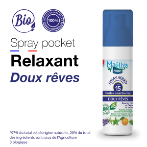 Spray POCKET Doux Rêves - 50 ml aux huiles essentielles BIO Contrôlé Parfum d'ambiance par Ecocert