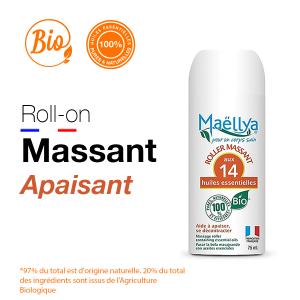 Roll-on de Massage apaisant - 75 ml aux huiles essentielles BIO Certifié Ecocert par Ecocert Greenlife