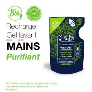 Recharge gel lavant mains Purifiant - 250 ml aux huiles essentielles BIO Certifié Cosmos Organic par Ecocert