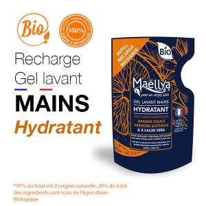 Recharge gel lavant mains Hydratant - 250 ml aux huiles essentielles BIO Certifié Cosmos Organic par Ecocert