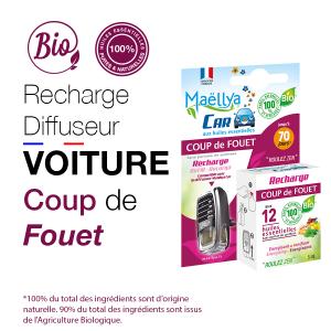 Recharge Diffuseur voiture Coup de Fouet - 5 ml aux huiles essentielles BIO Contrôlé Parfum d'ambiance par Ecocert