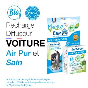 Recharge Diffuseur voiture Air Pur et Sain - 5 ml aux huiles essentielles BIO Contrôlé Parfum d'ambiance par Ecocert
