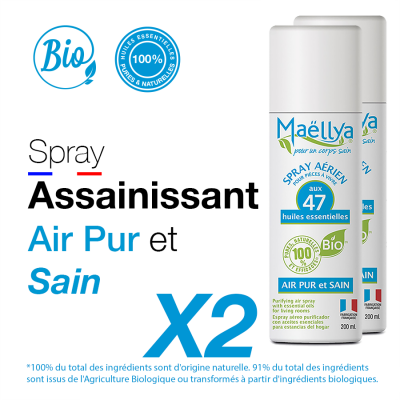 "LOT : 2 Spray ""Air Pur et Sain"" - 200 ml"