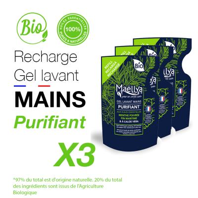 """LOT : 3 Recharges gels lavants Mains """"Purifiant"""""""