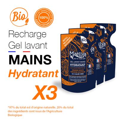 """LOT : 3 Recharges gels lavants Mains """"Hydratant"""""""