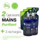 """LOT : 2 Gels Lavants Mains """"Purifiant"""" 300 ml + 3 Recharges 250 ml"""