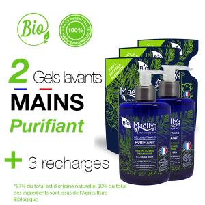 "LOT : 2 Gels Lavants Mains ""Purifiant"" 300 ml + 3 Recharges 250 ml"