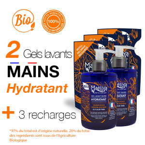 "LOT : 3 Gels Lavants Mains ""Hydratant"" + 2 Recharges"