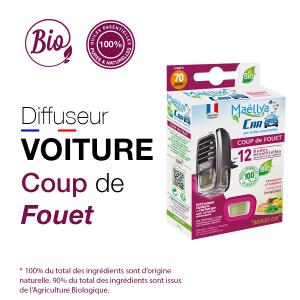 Diffuseur voiture Coup de Fouet - 5 ml aux huiles essentielles BIO Contrôlé Parfum d'ambiance par Ecocert