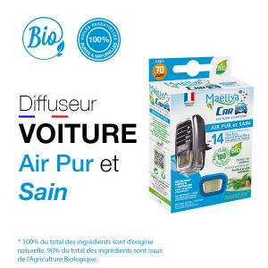 Diffuseur voiture Air Pur et Sain - 5 ml aux huiles essentielles BIO Contrôlé Parfum d'ambiance par Ecocert