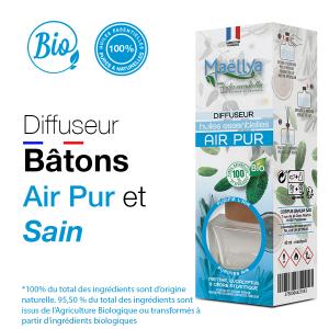 Diffuseur bâtons Air Pur - 40 ml aux huiles essentielles BIO Contrôlé Parfum d'ambiance par Ecocert